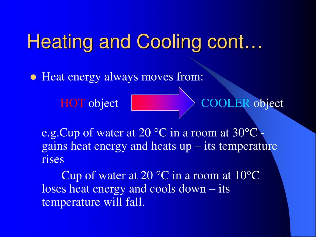 Heating and Cooling cont…