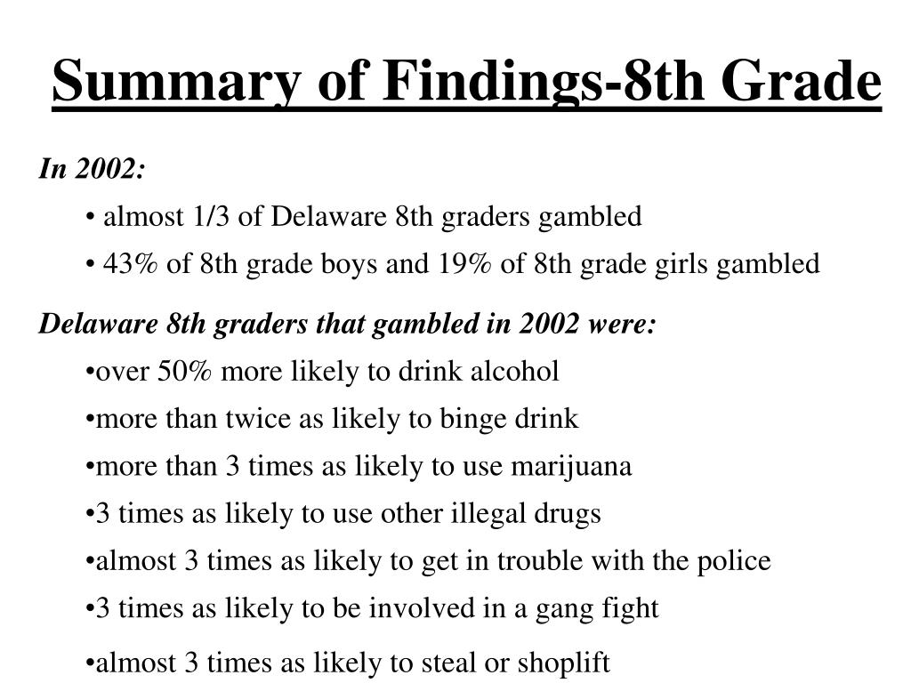 Summary of Findings-8th Grade