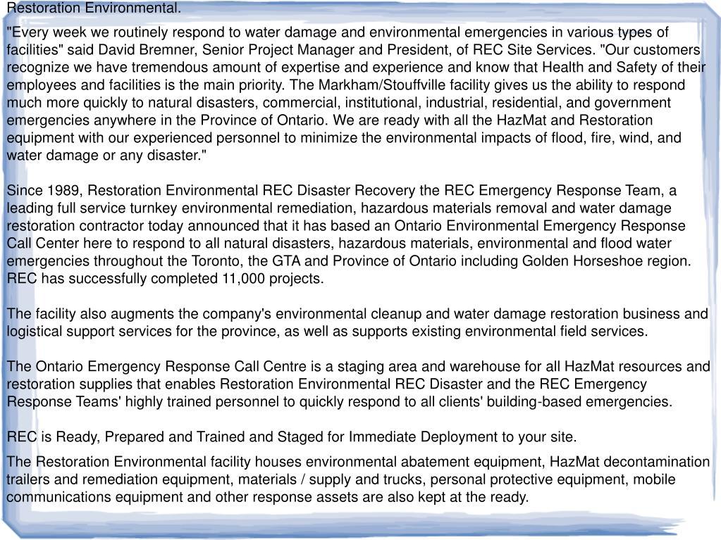 Restoration Environmental.