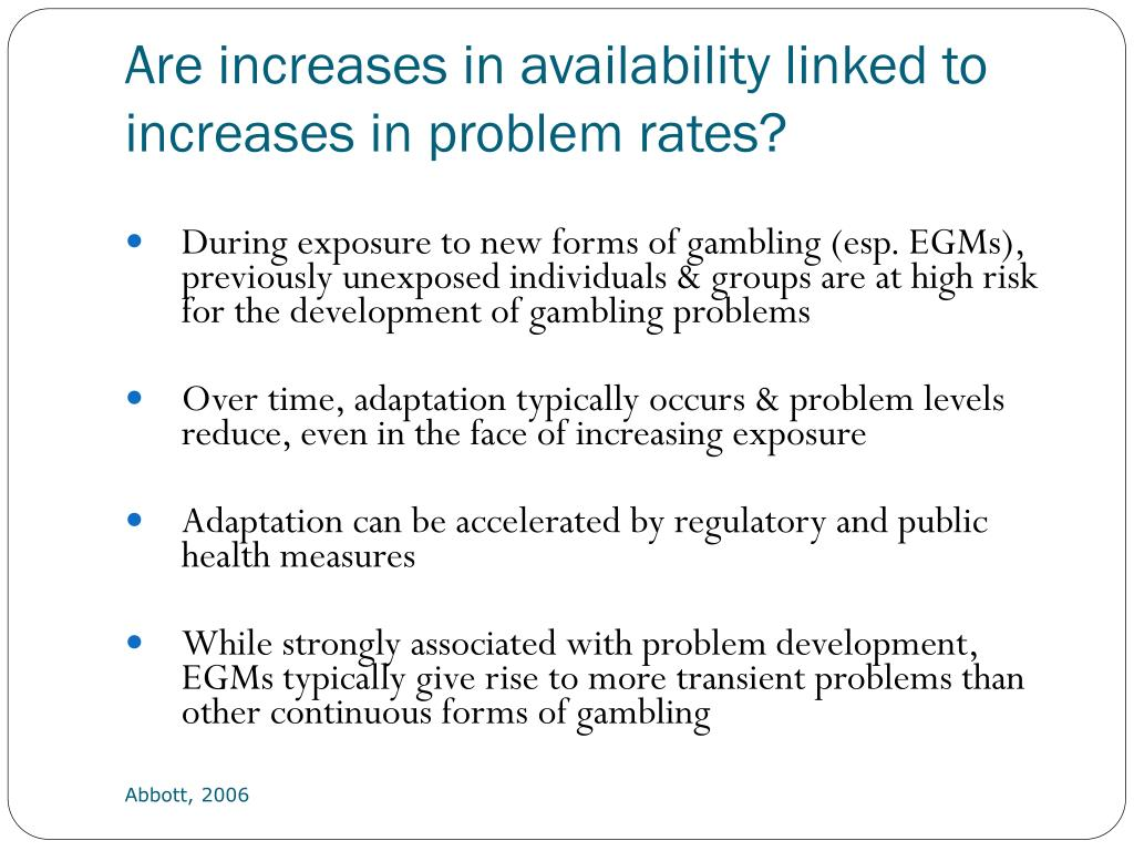 Are increases in availability linked to increases in problem rates?