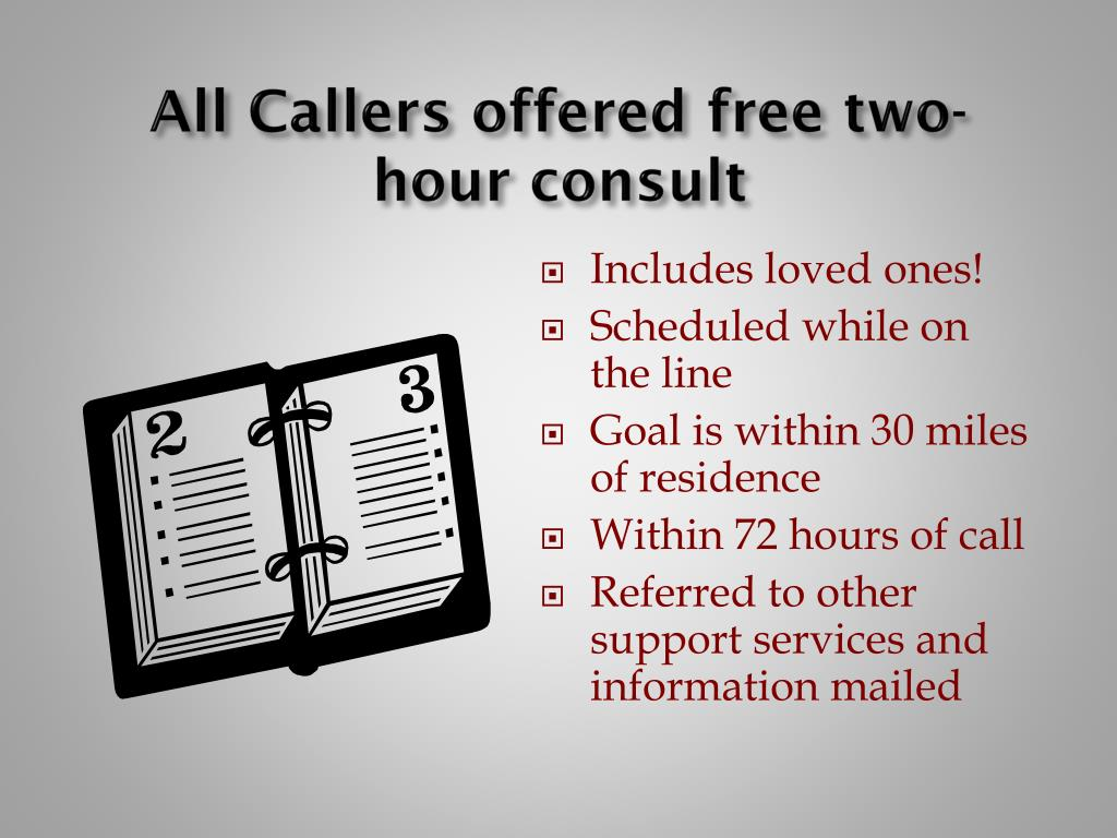 All Callers offered free two-hour consult