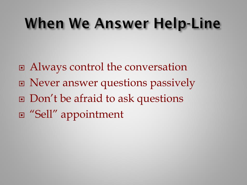 When We Answer Help-Line