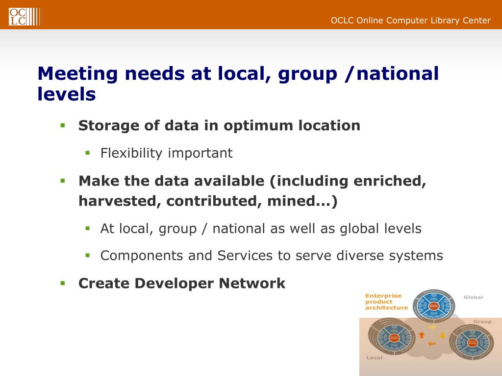 Meeting needs at local, group /national levels