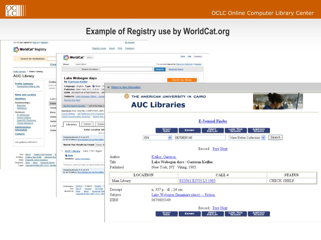 Example of Registry use by WorldCat.org