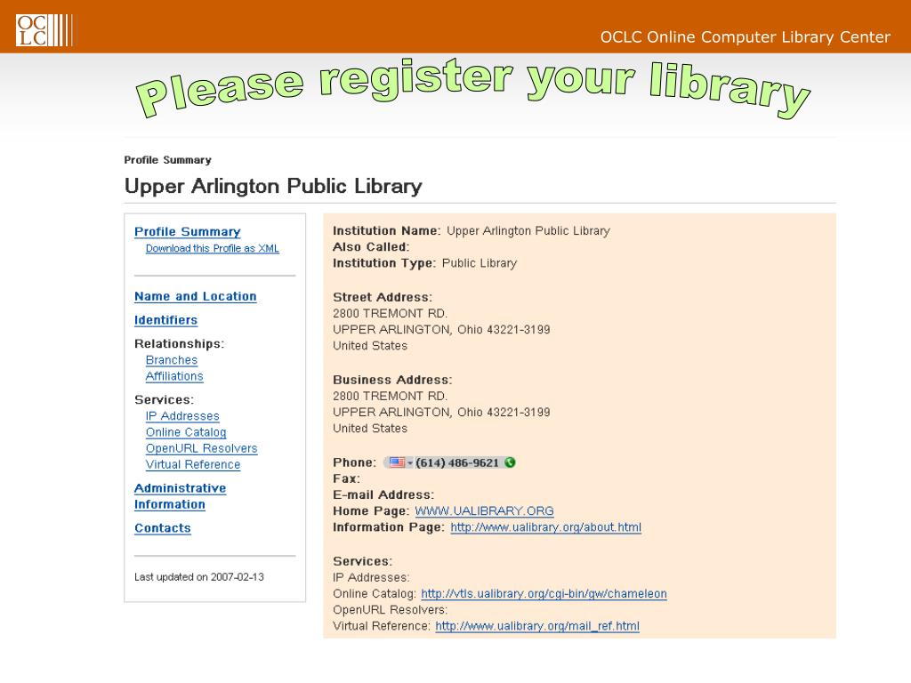 Please register your library