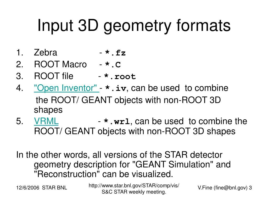 Input 3D geometry formats