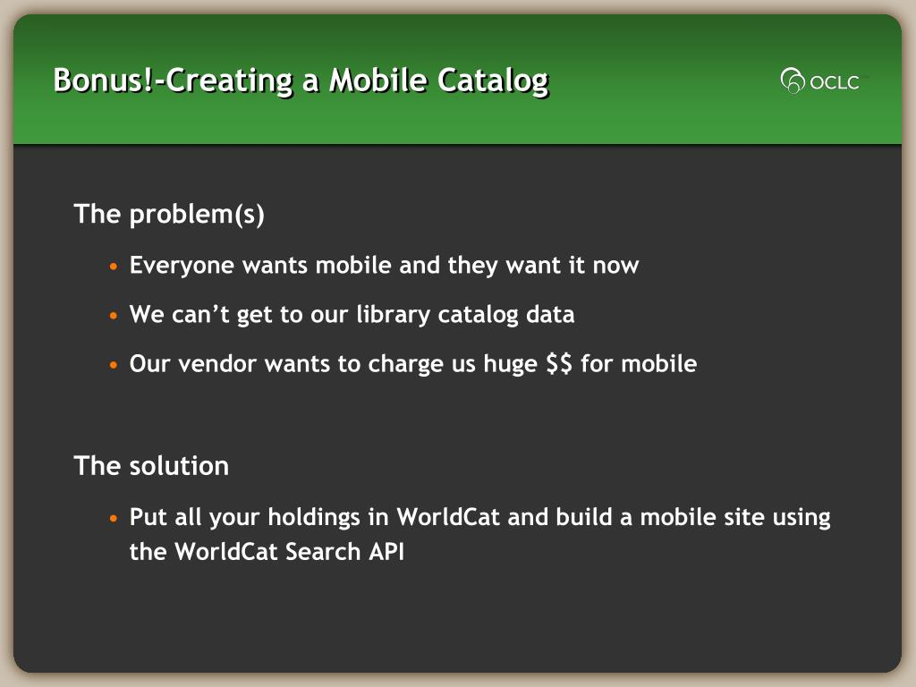 Bonus!-Creating a Mobile Catalog
