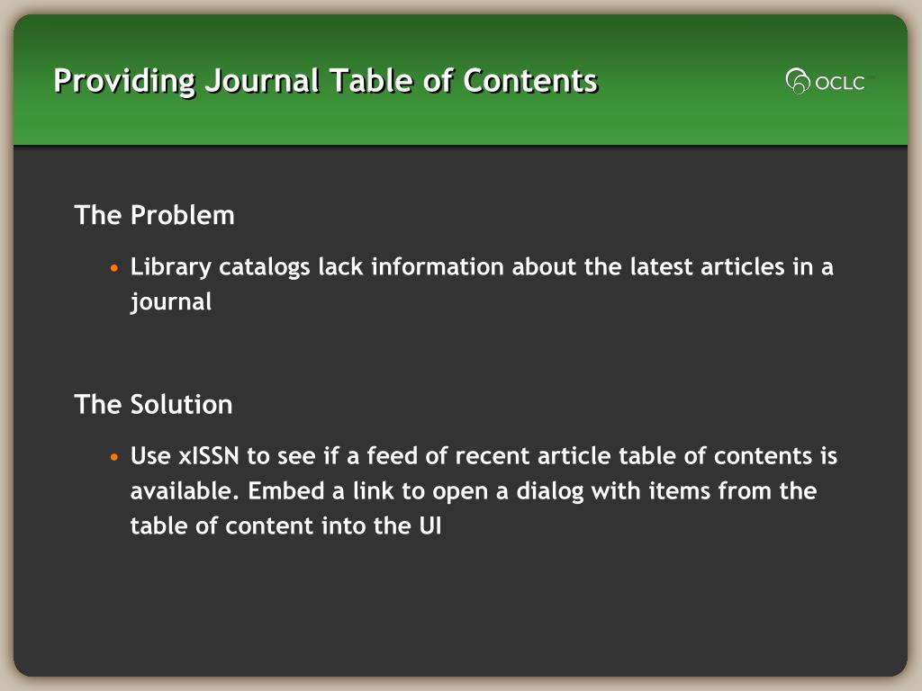 Providing Journal Table of Contents