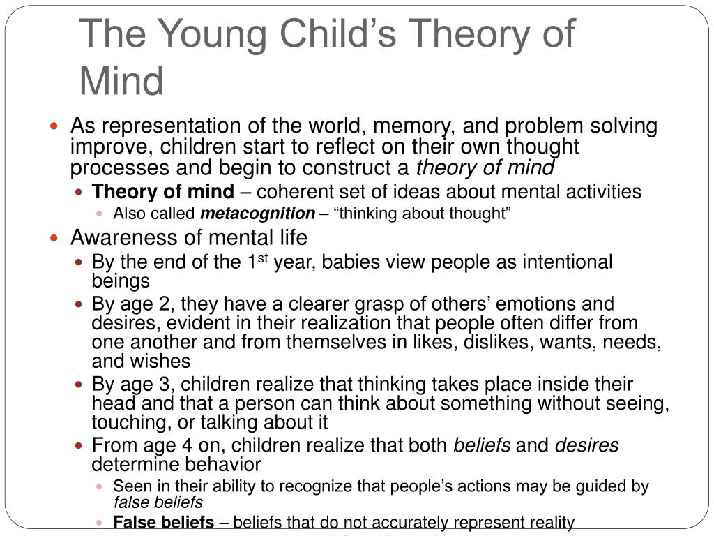 theory of mind essay Child psychology - the theory of mind title length color rating : understanding the way our mind works in the theory of mind essays - the study of children's theory of mind has grown tremendously attractive to many developmental psychologists in the past few decades.