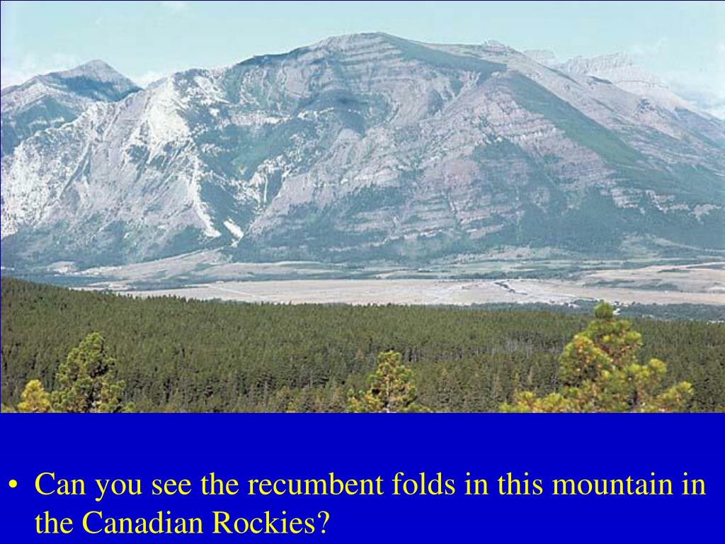 Can you see the recumbent folds in this mountain in the Canadian Rockies?