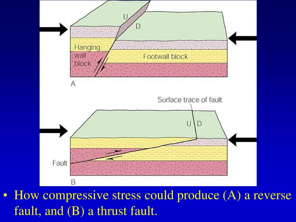 How compressive stress could produce (A) a reverse fault, and (B) a thrust fault.