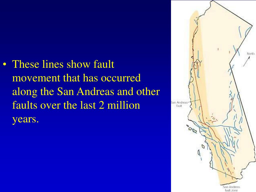 These lines show fault movement that has occurred along the San Andreas and other faults over the last 2 million years.