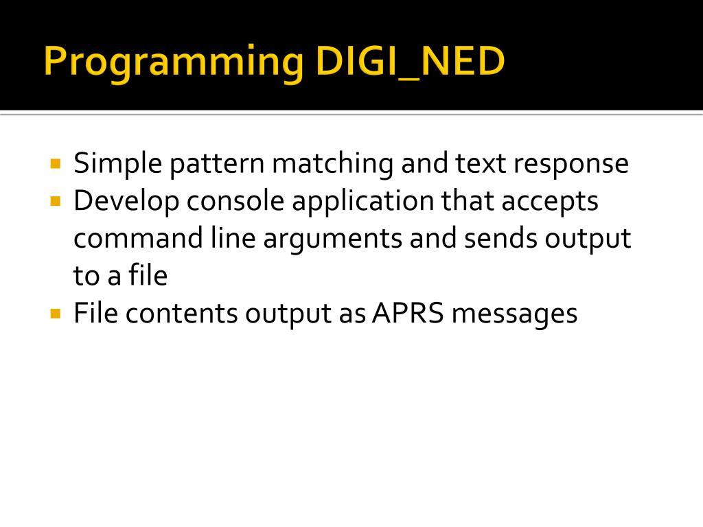 Programming DIGI_NED