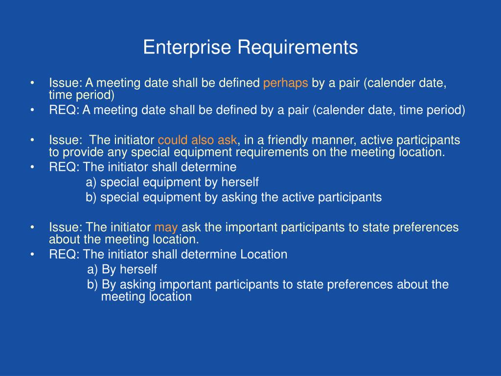 Enterprise Requirements