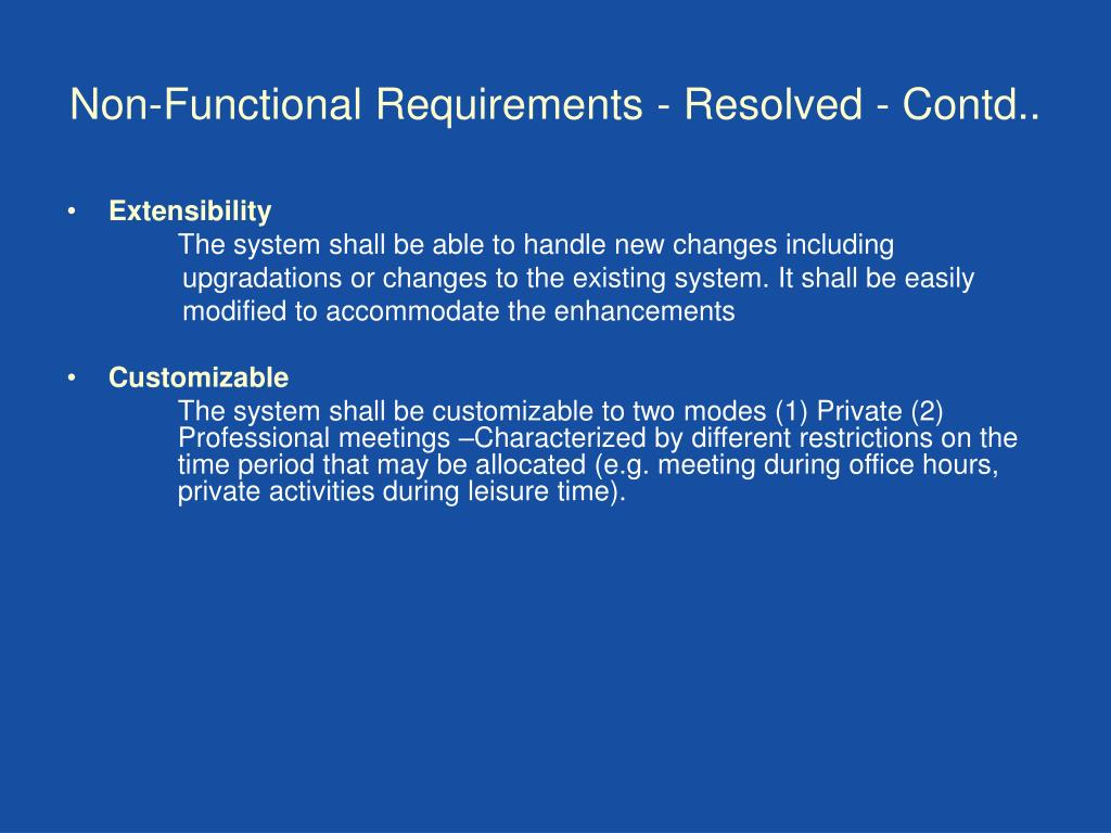 Non-Functional Requirements - Resolved - Contd..