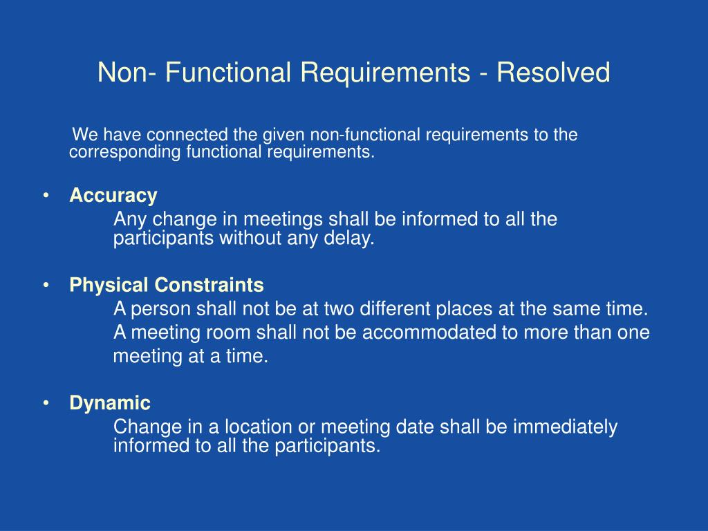 Non- Functional Requirements - Resolved