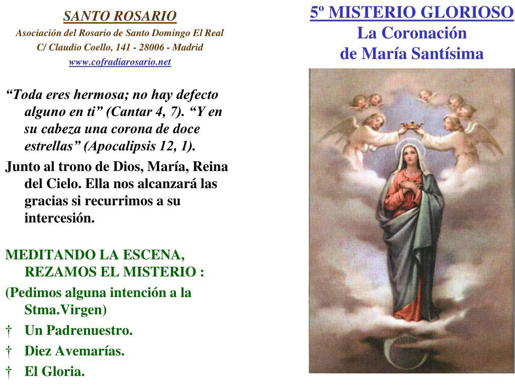 5º MISTERIO GLORIOSO