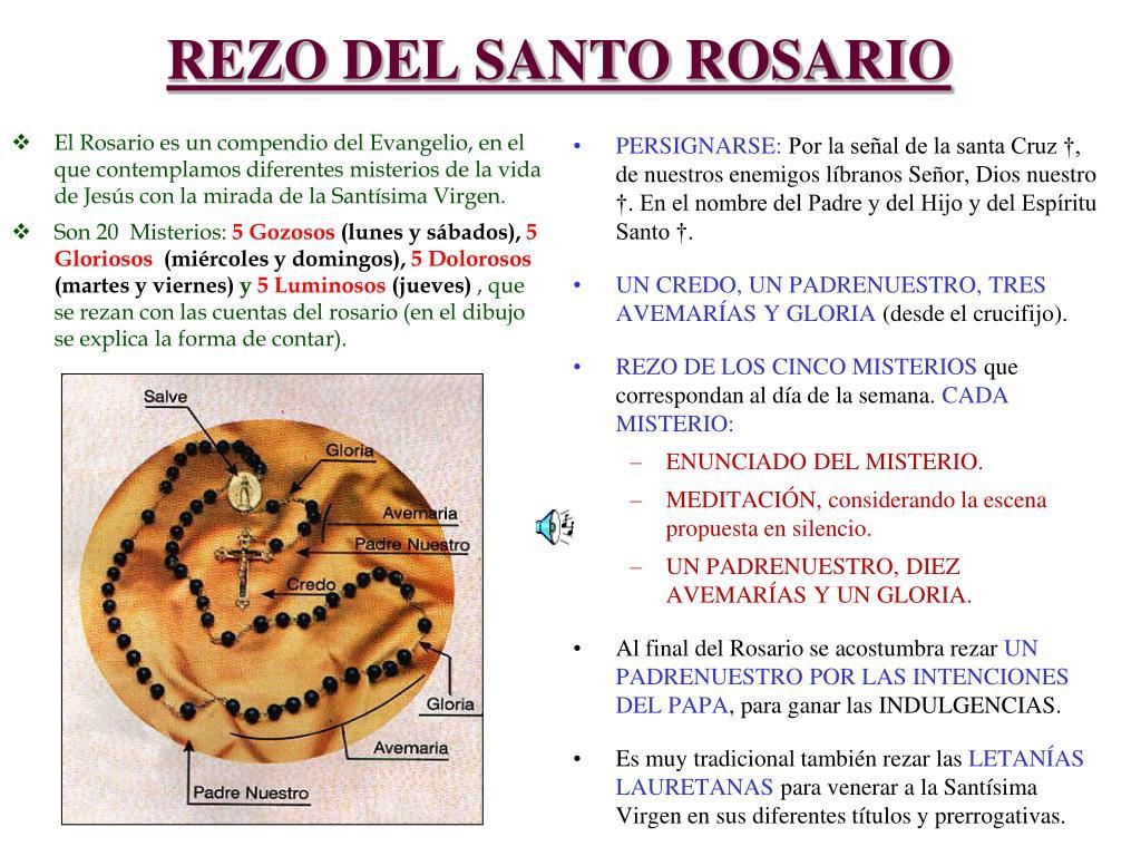 El Rosario es un compendio del Evangelio, en el que contemplamos diferentes misterios de la vida de Jesús con la mirada de la Santísima Virgen.