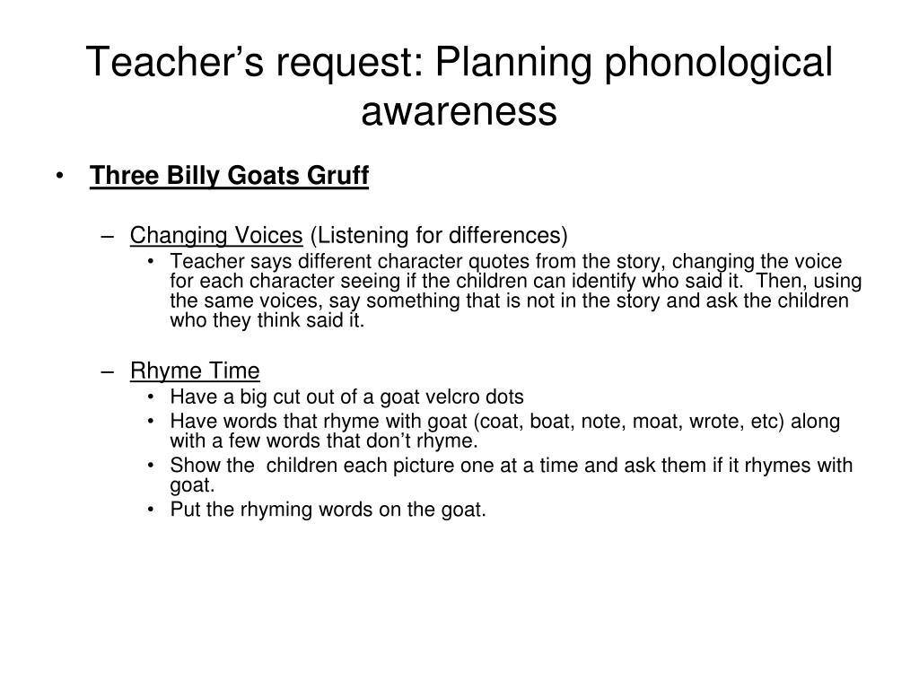 Teacher's request: Planning phonological awareness