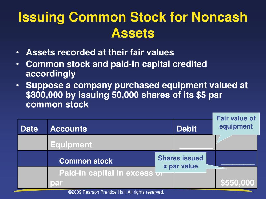 Issuing Common Stock for Noncash Assets