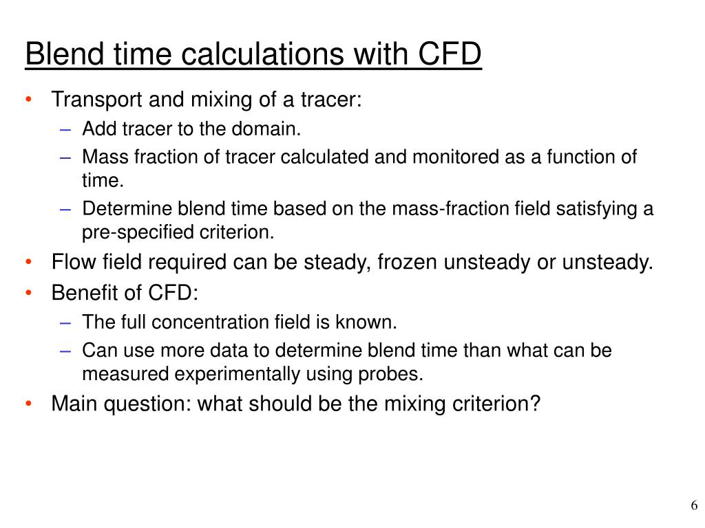 Blend time calculations with CFD