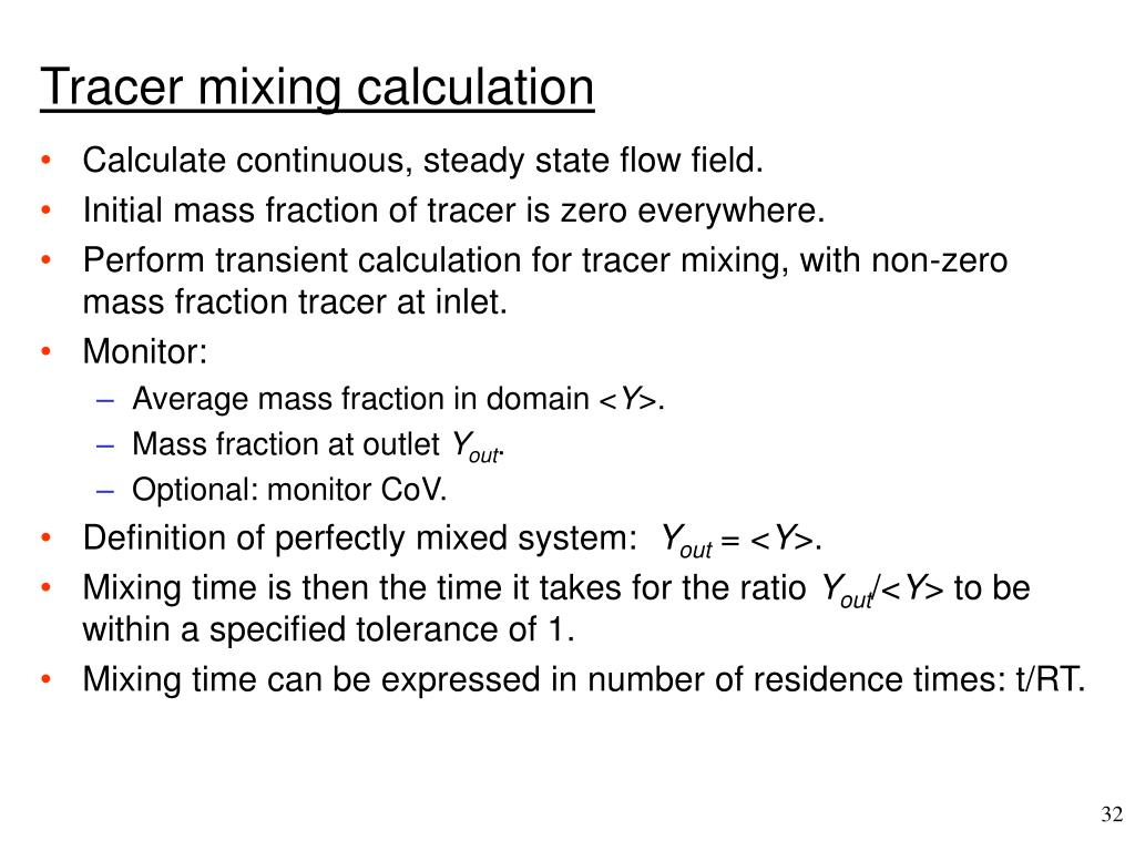 Tracer mixing calculation