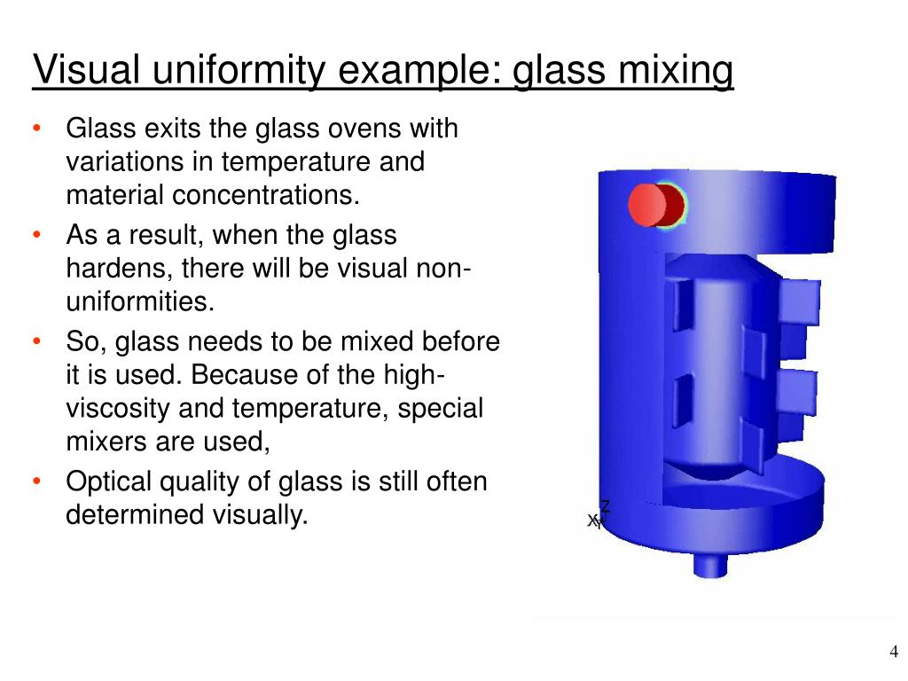Visual uniformity example: glass mixing