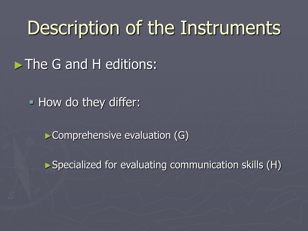 Description of the Instruments