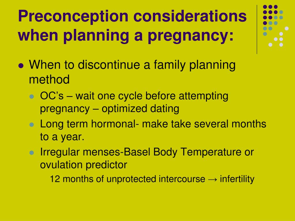 Preconception considerations when planning a pregnancy: