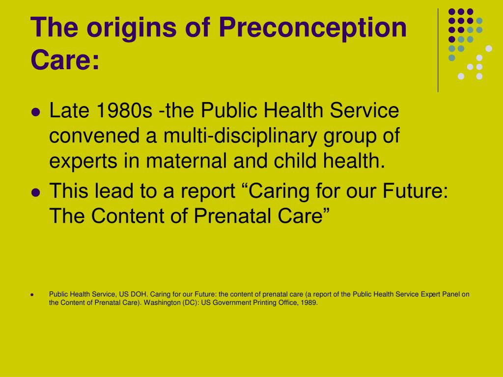 The origins of Preconception Care: