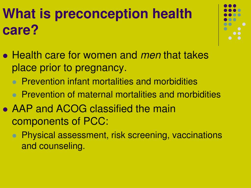 What is preconception health care?