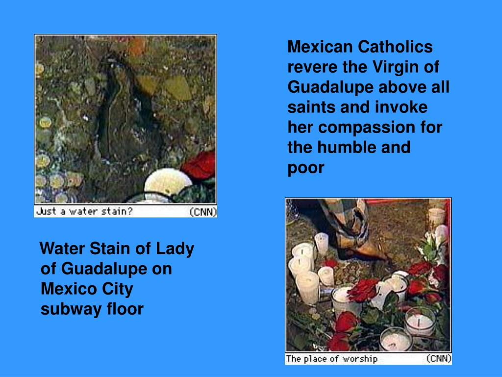 Water Stain of Lady of Guadalupe on Mexico City subway