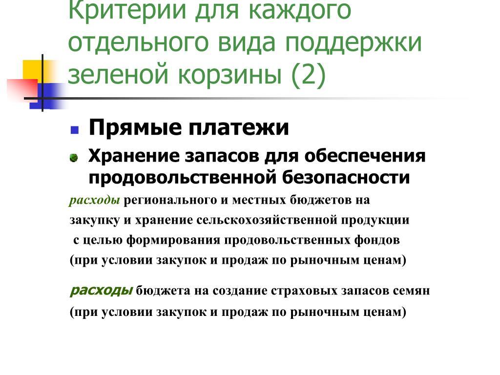 Критерии для каждого отдельного вида поддержки зеленой корзины (2)