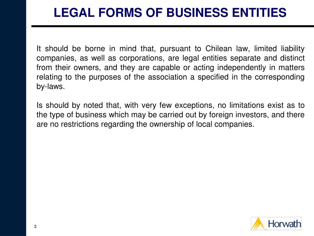 LEGAL FORMS OF BUSINESS ENTITIES