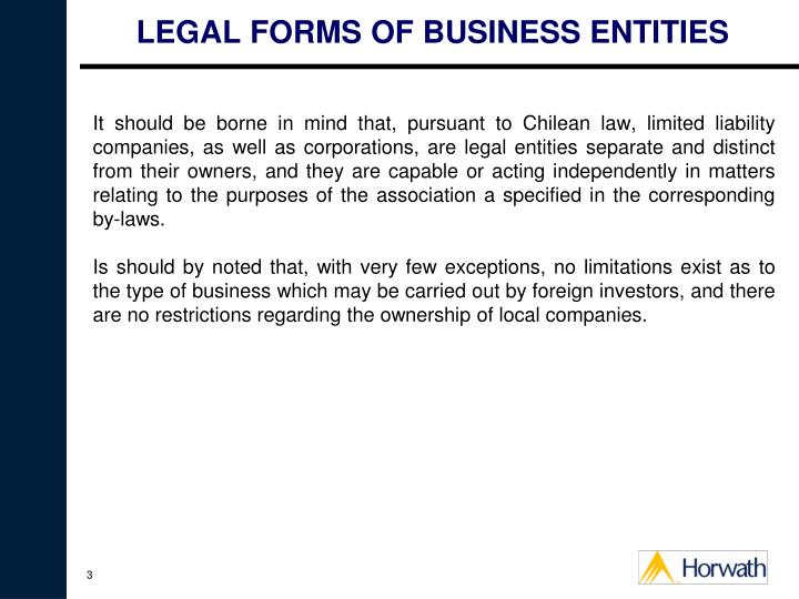 Legal forms of business entities3