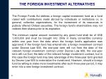 the foreign investment alternatives37