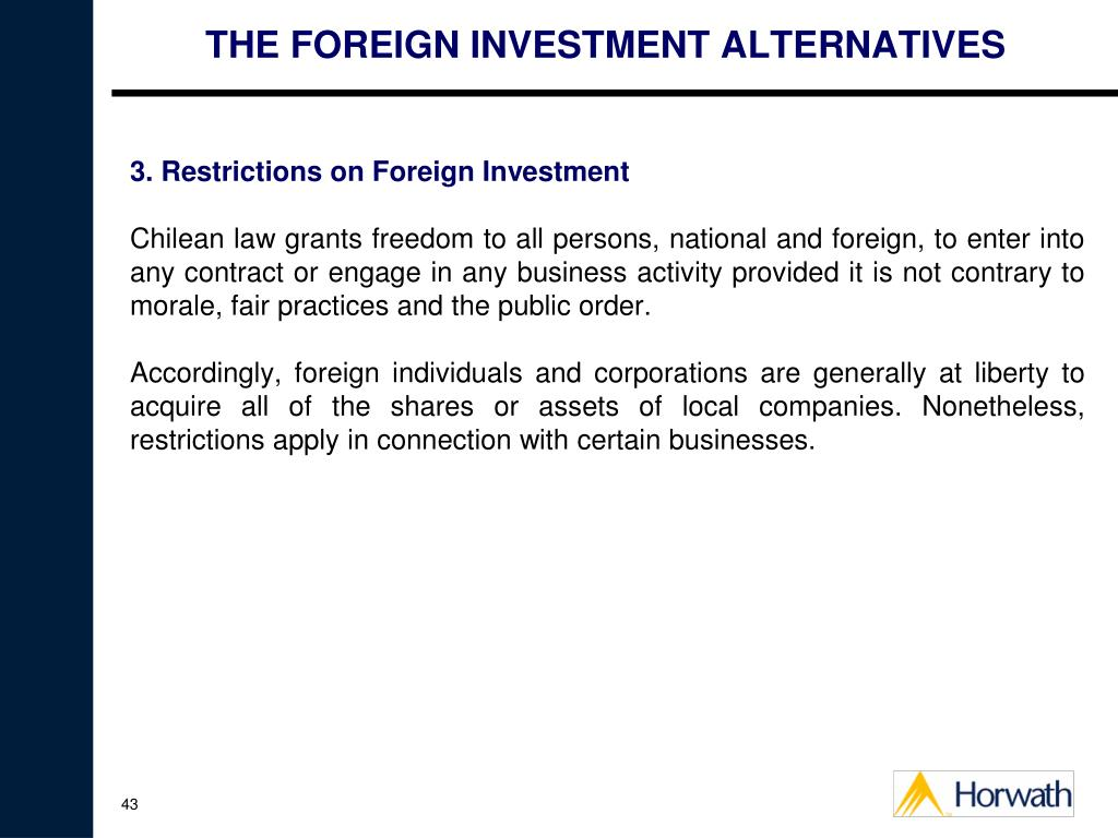THE FOREIGN INVESTMENT ALTERNATIVES