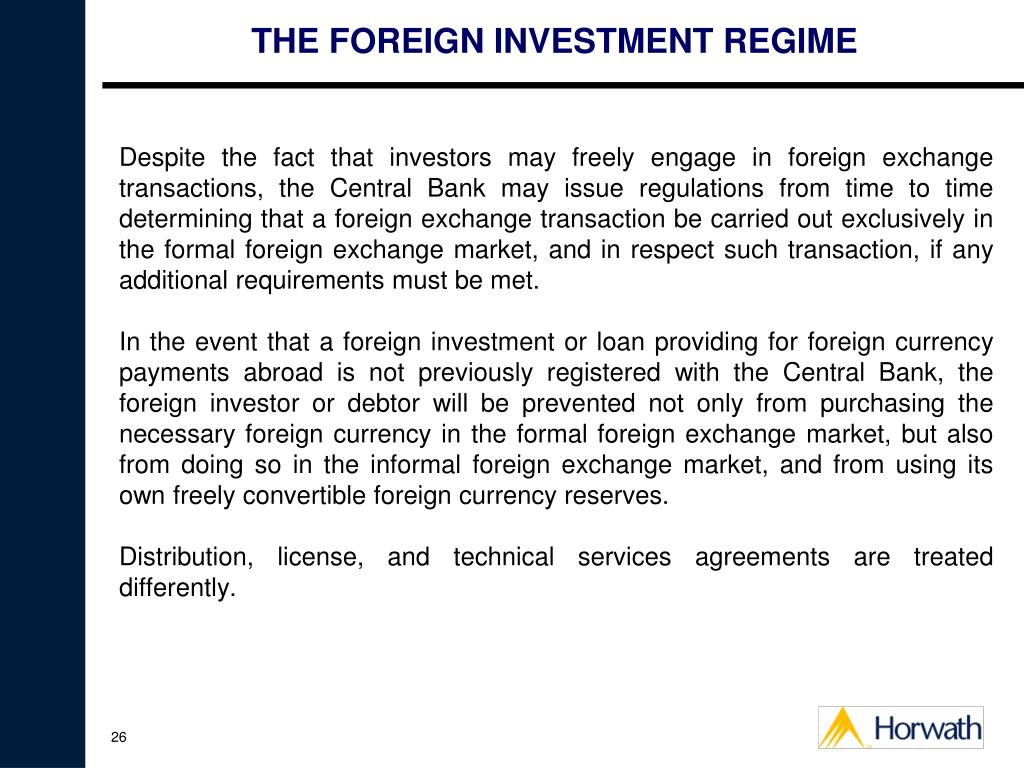THE FOREIGN INVESTMENT REGIME
