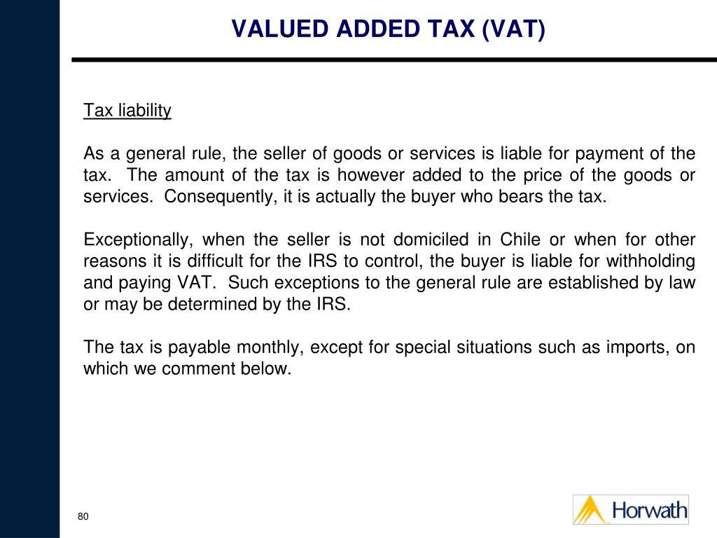 VALUED ADDED TAX (VAT)
