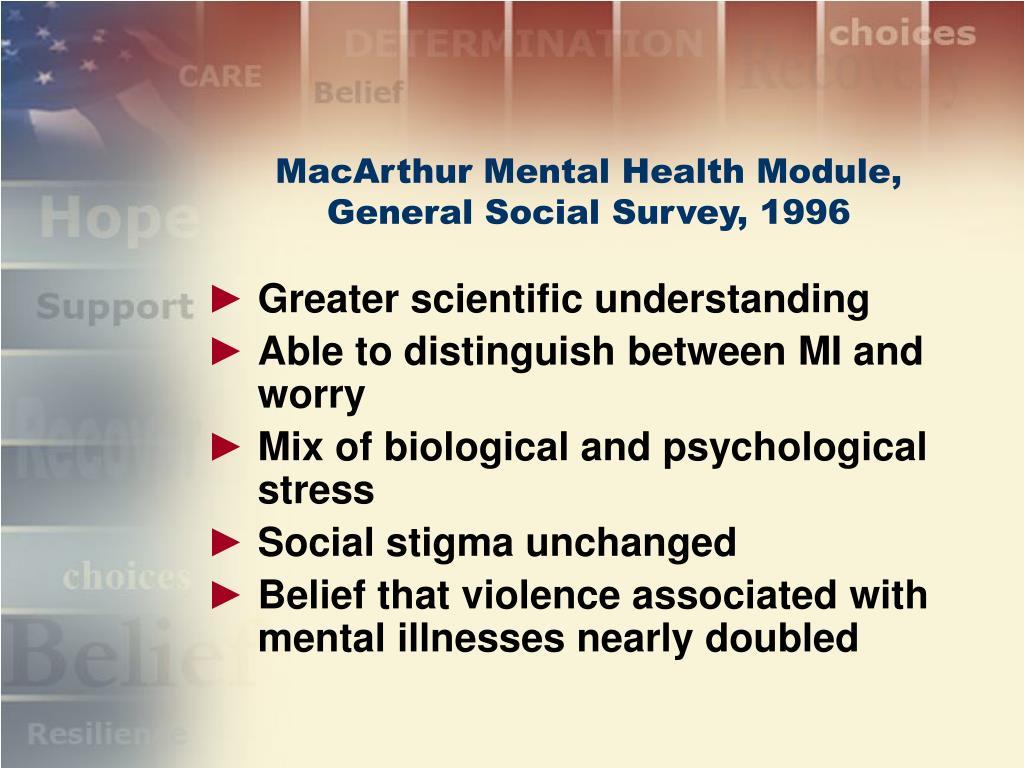 MacArthur Mental Health Module, General Social Survey, 1996