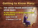 getting to know mary
