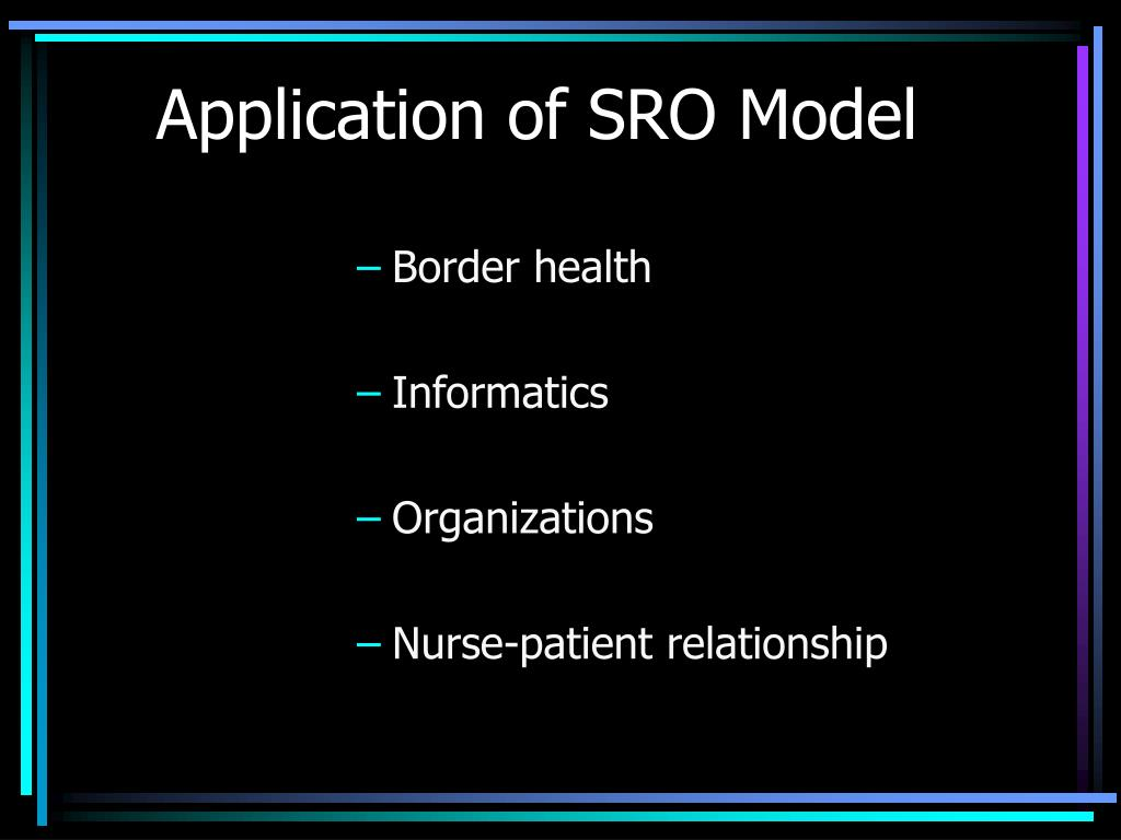 Application of SRO Model