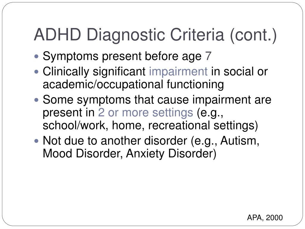 ADHD Diagnostic Criteria
