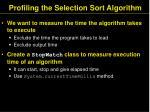 profiling the selection sort algorithm