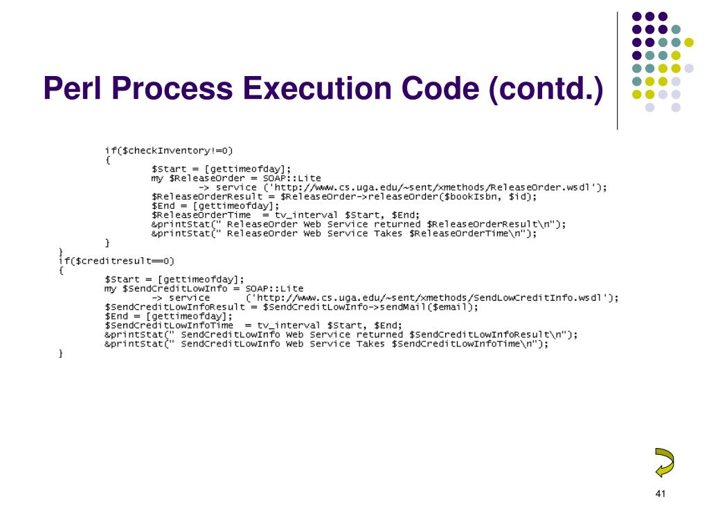 Perl Process Execution Code (contd.)