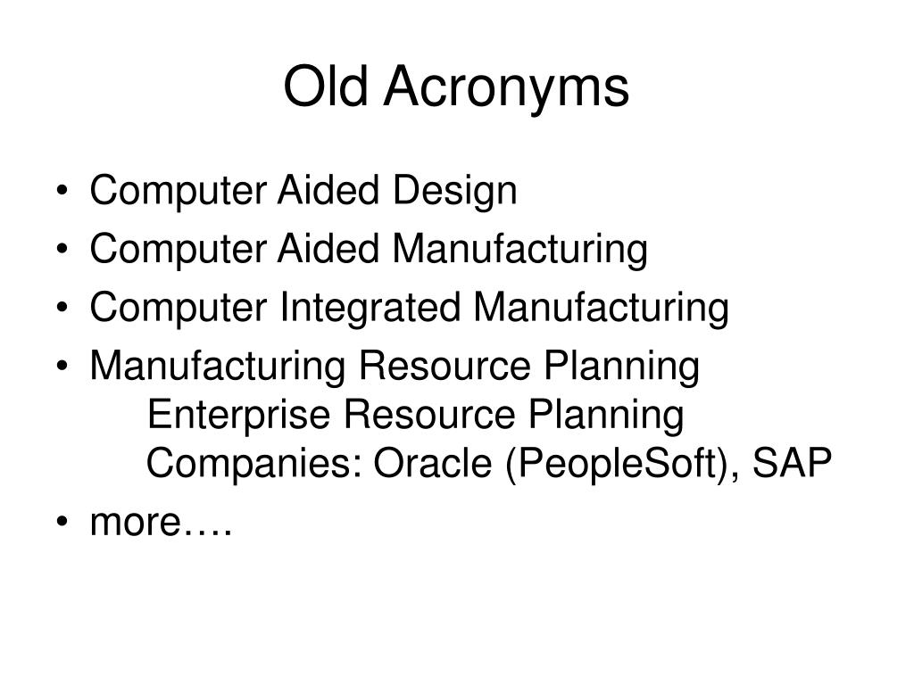 Old Acronyms
