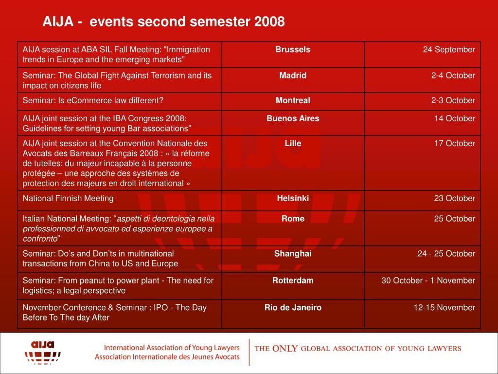 AIJA -  events second semester 2008