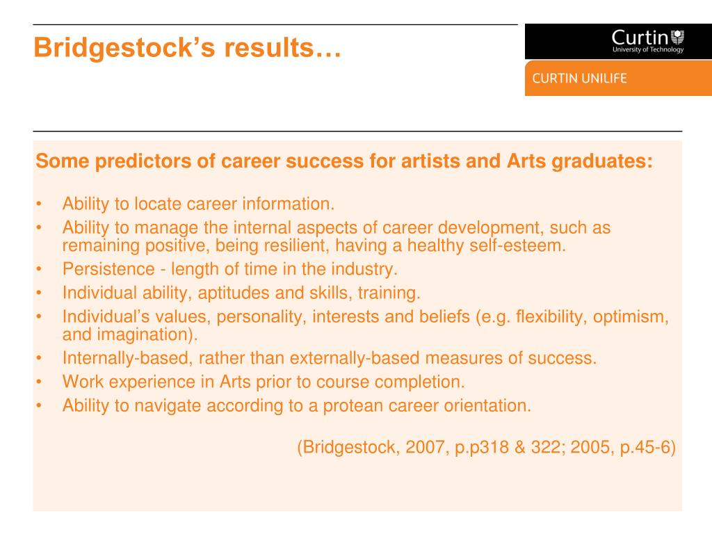 Some predictors of career success for artists and Arts graduates: