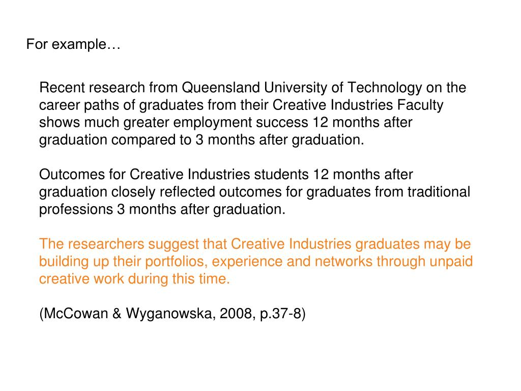 Recent research from Queensland University of Technology on the career paths of graduates from their Creative Industries Faculty shows much greater employment success 12 months after graduation compared to 3 months after graduation.