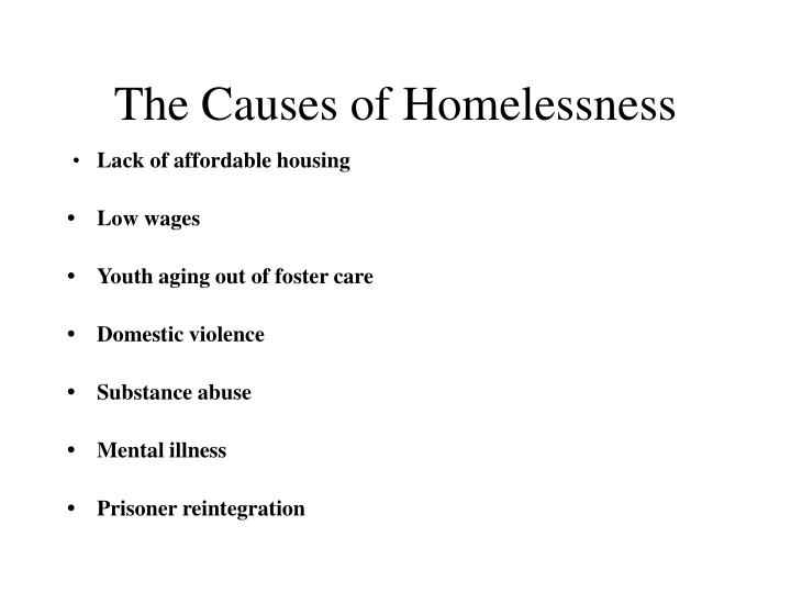 The causes of homelessness l.jpg